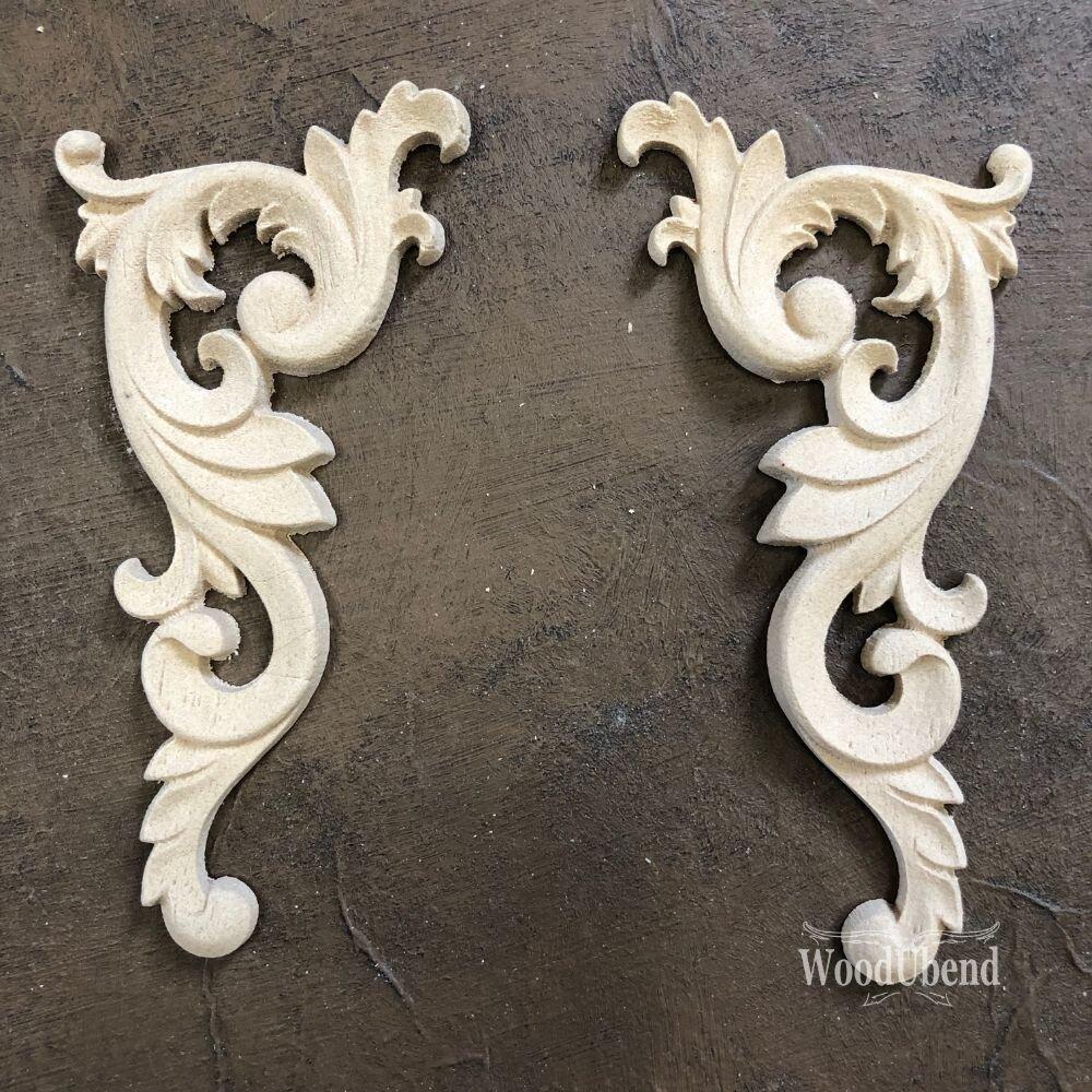 wooden furniture and mixed media mouldings WoodUbend #364/&365 Pair of floral vintage scroll furniture appliqu\u00e9 mouldings