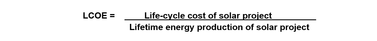 LCOE formula - life cycle cost of solar project.png