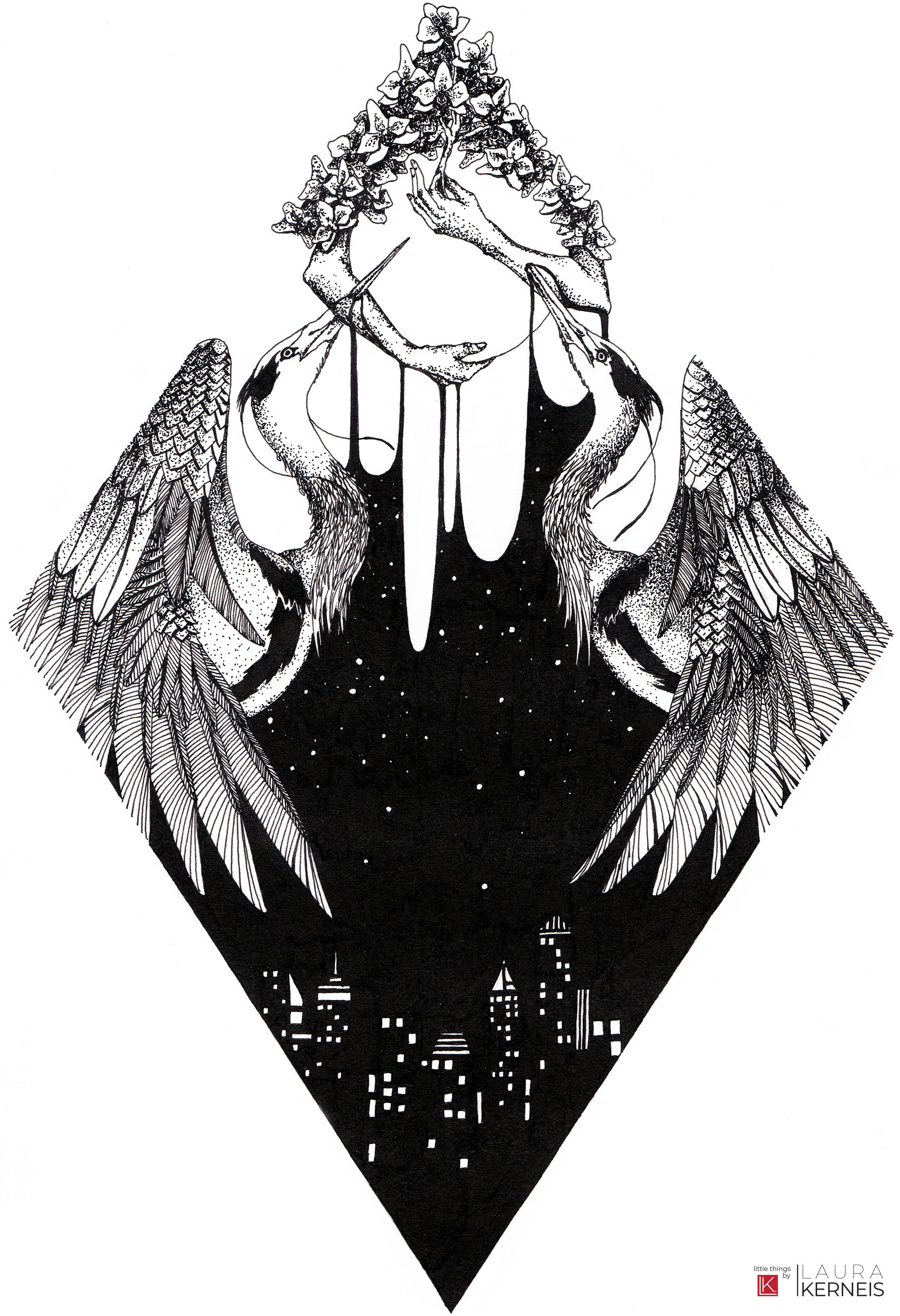 """Artist: Laura Kerneis // IG: @laura.kerneis // FBMedium: Ink on paperPiece: """"Perilously Here"""" -"""