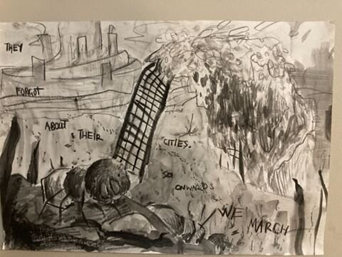 "Artist: Deborah Kam // IG: @arler.smallineMedium: graphitePiece: ""decay of the grand""Text:"