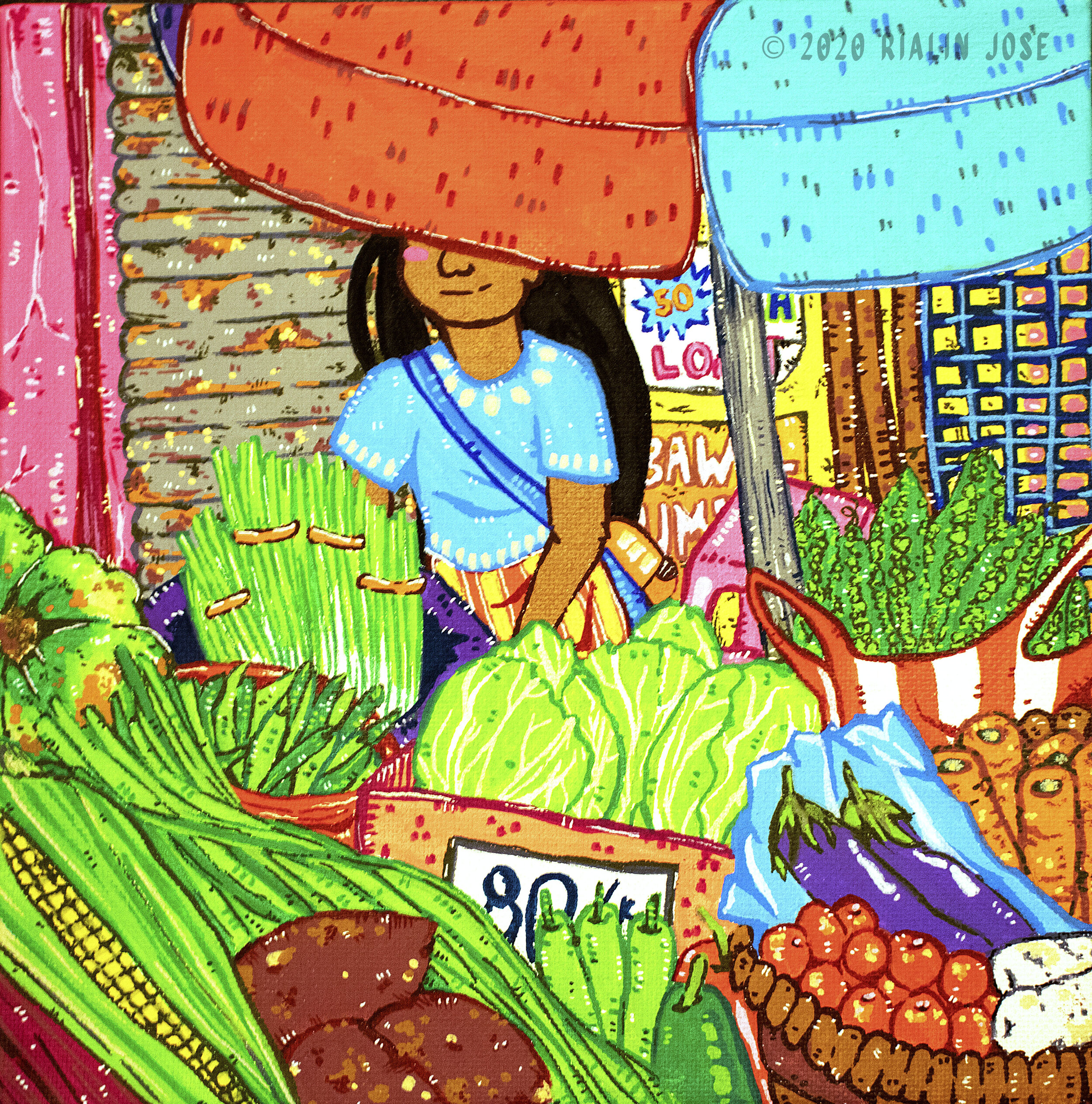 """""""Gulay Girl (Vegetable Girl)"""" by Rialin Jose   Find her on:  Twitter  and  Instagram  Medium: Paint marker & acrylic on 8x8"""" canvas"""