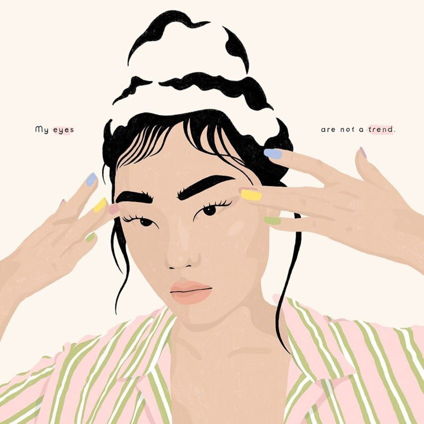 """""""My eyes are not a trend,"""" by Chungi Yoo, an illustrator based in Frankfurt, Germany.    Photo Credit: IG @chungiyoo"""