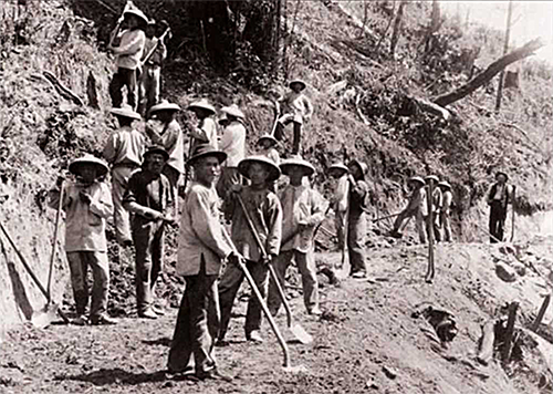 Chinese workers building the Transcontinental Railroad   Photo Credit:    Courtesy of Pajaro Valley Historical Association.