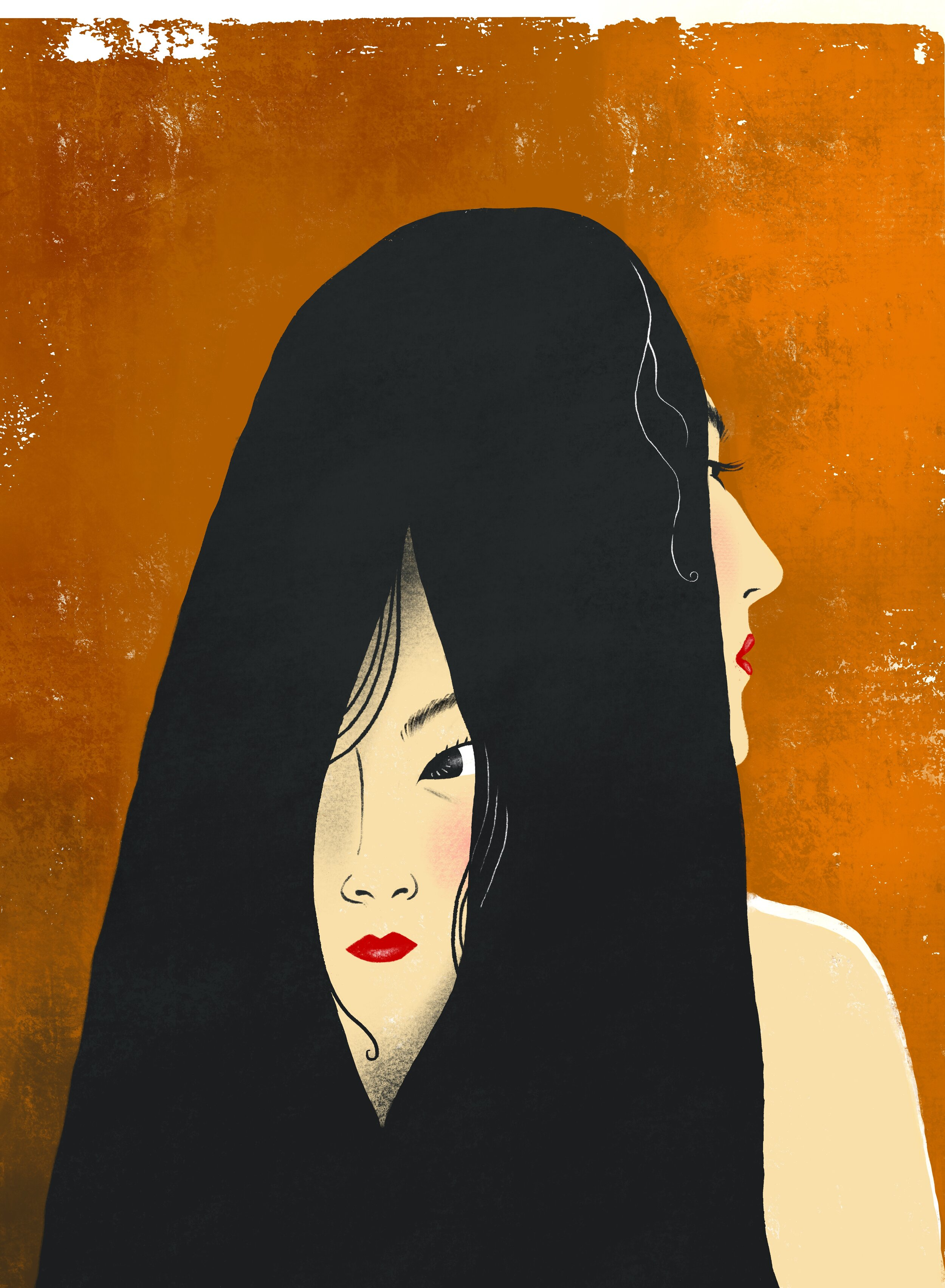 """""""Saving Face"""" (2020)Digital, Screenprint - This piece is about my experiences with hiding my true emotions as an Asian woman. Too often I have minimized myself in the past in order to not cause a stir, but I have found that these feelings always find a way of leaking out one way or another, and it more often than not is a disservice to myself when I am denying my true emotions, or when someone is being disrespectful to me."""