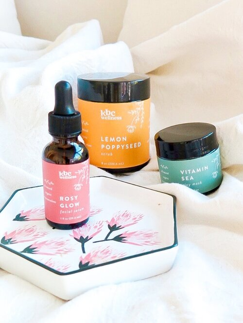 Rosy Glow facial serum   ,   Lemon Poppyseed scrub ,     Vitamin Sea clay exfoliant + clay mask