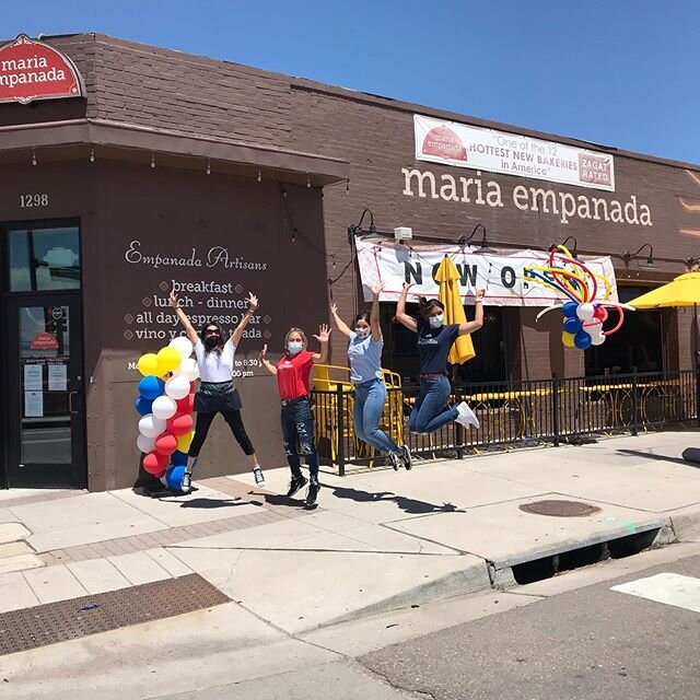 Hola Denver, we are back!! We are jumping for joy because we're celebrating our re-opening starting today! We missed you terribly so please come in so we can see you and spoil you with our delicious food!  Shout out to Cassey and Lila the first customers of our re-opening celebration!! #coloradorestaurantassociation #mariaempanada #ohheystanley #bestdenverrestaurants #bestbrunchdenver