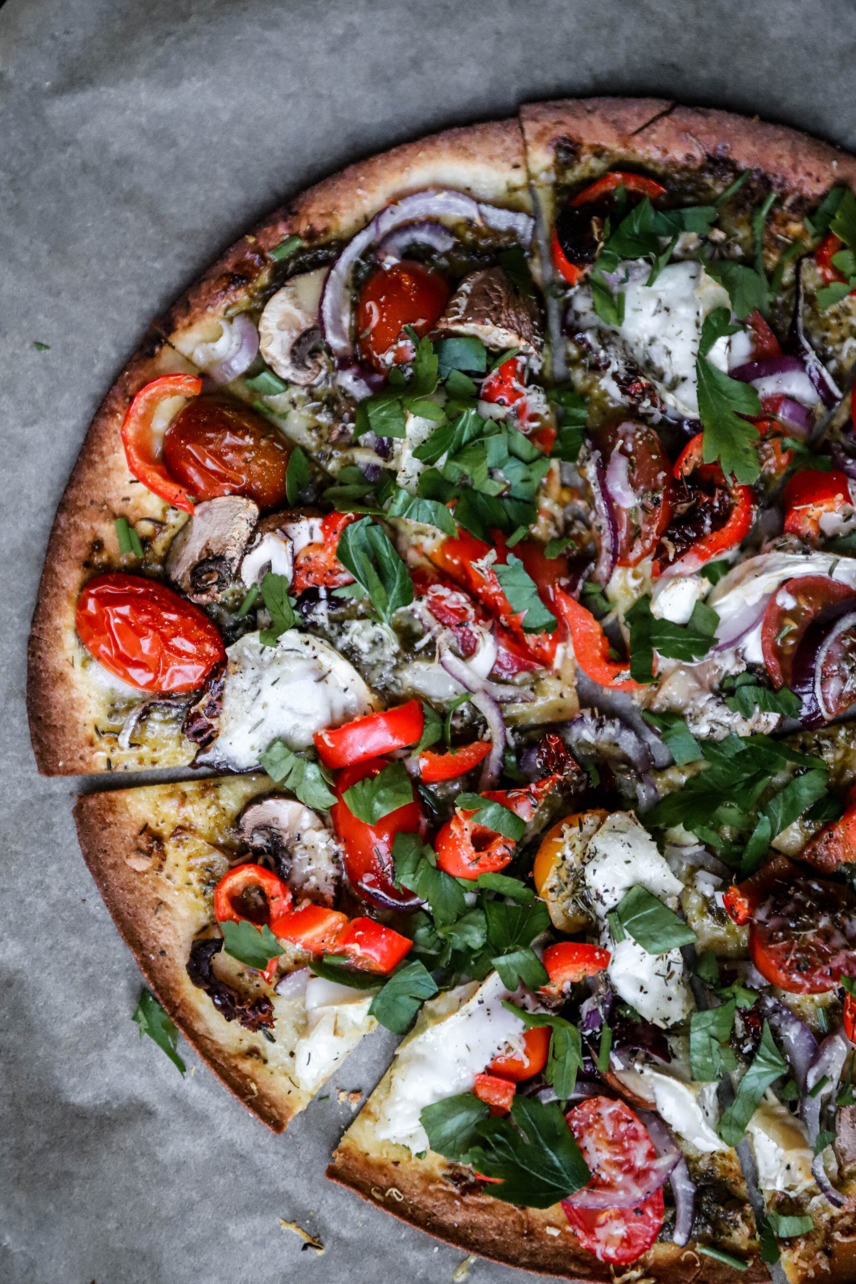 Quick Veggie Tortilla Pizza With Green Pesto Goats Cheese Tomatoes Judilicious And Nutritious