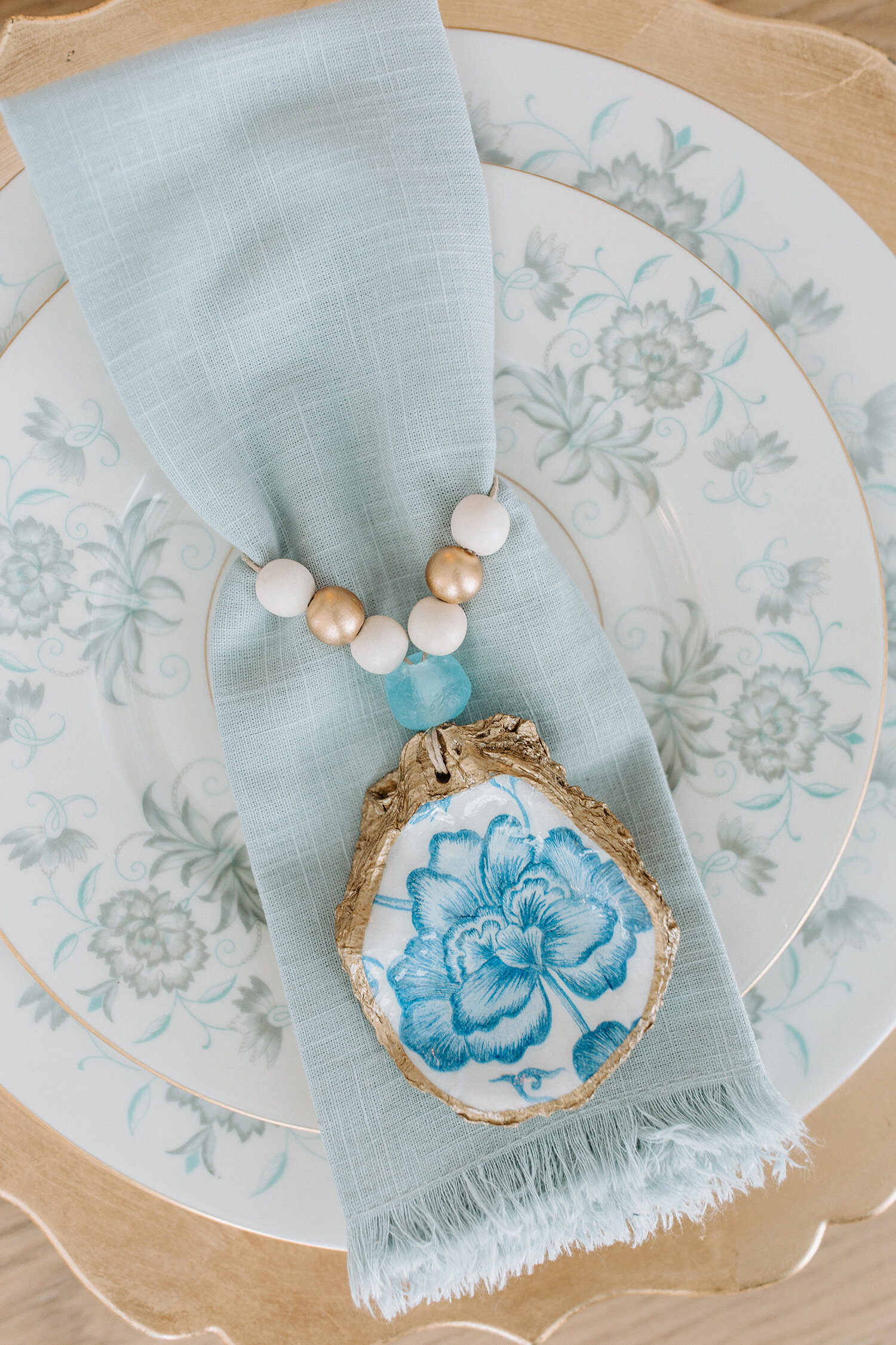 Indigo Decoupage Oyster Shell Napkin Rings Grit And Grace Studio