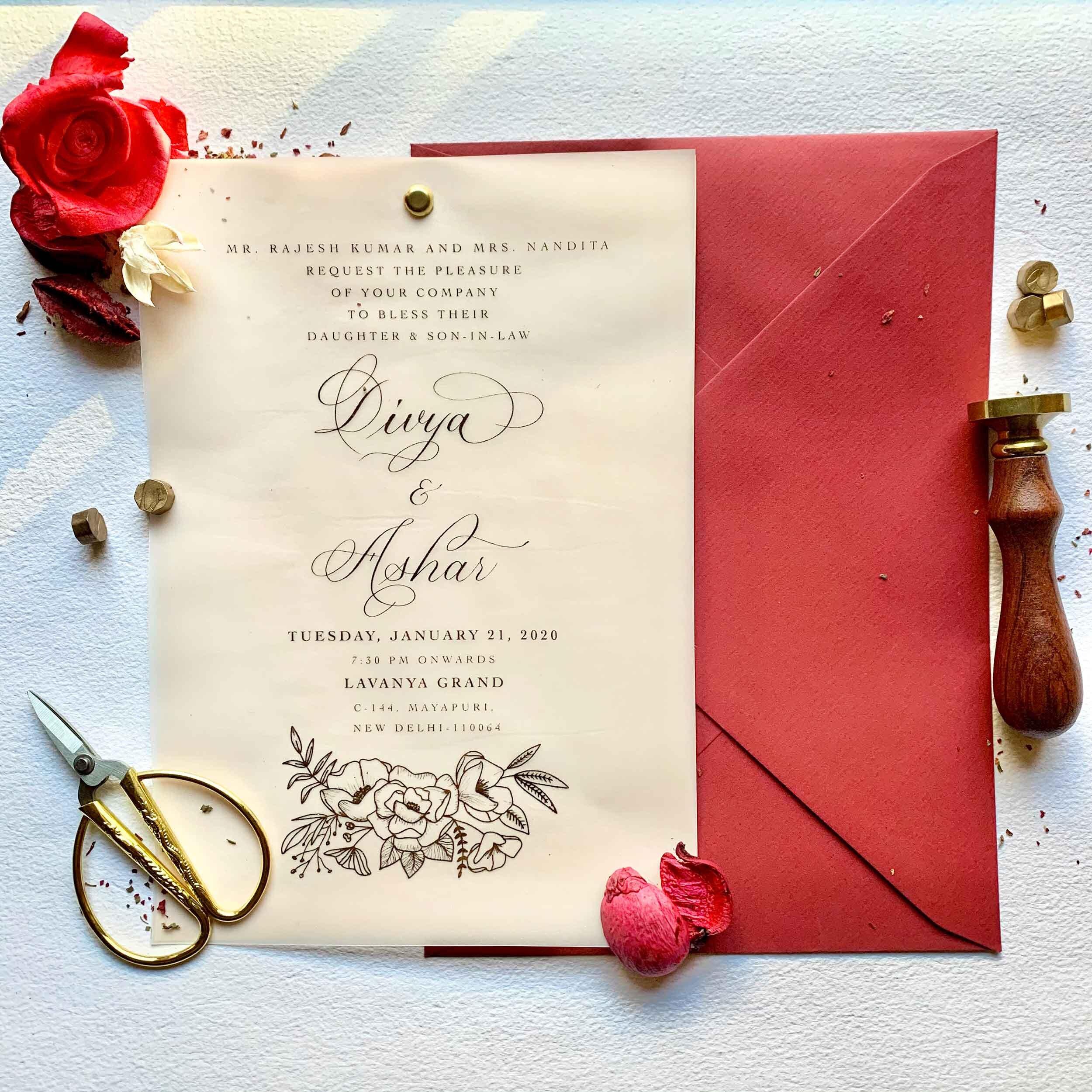 Luxury Indian Wedding Invitations Calligraphy Shubhlekh