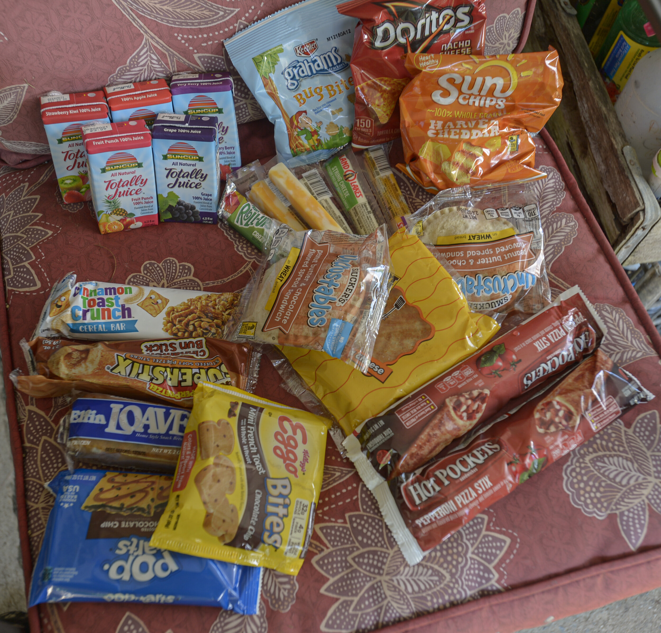 A week's worth of food rations for Laura Hempel for the week of July 13, 2020. The food box is provided by Randolph County's summer feeding program. Photo by F. Brian Ferguson