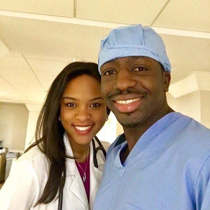 Husband and wife, Theodore Nyame, MD and Sandy Charles, MD, pictured at work. SANDY CHARLES, MD
