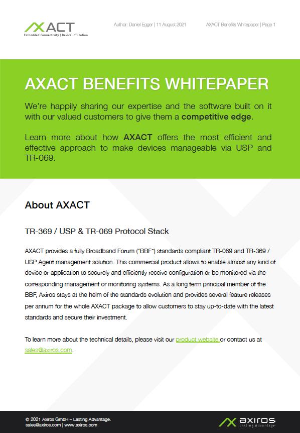 AXACT Benefits