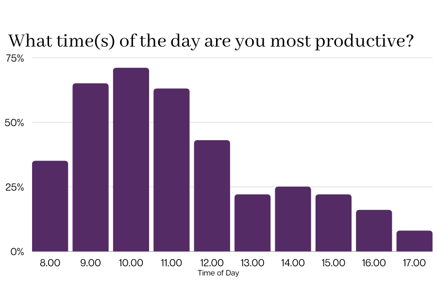 What time(s) of the day are you most productive?