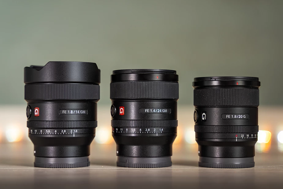 Sony Wide Angle Primes. 14mm - 20mm - 24mm (image take from Albert Dros blog)