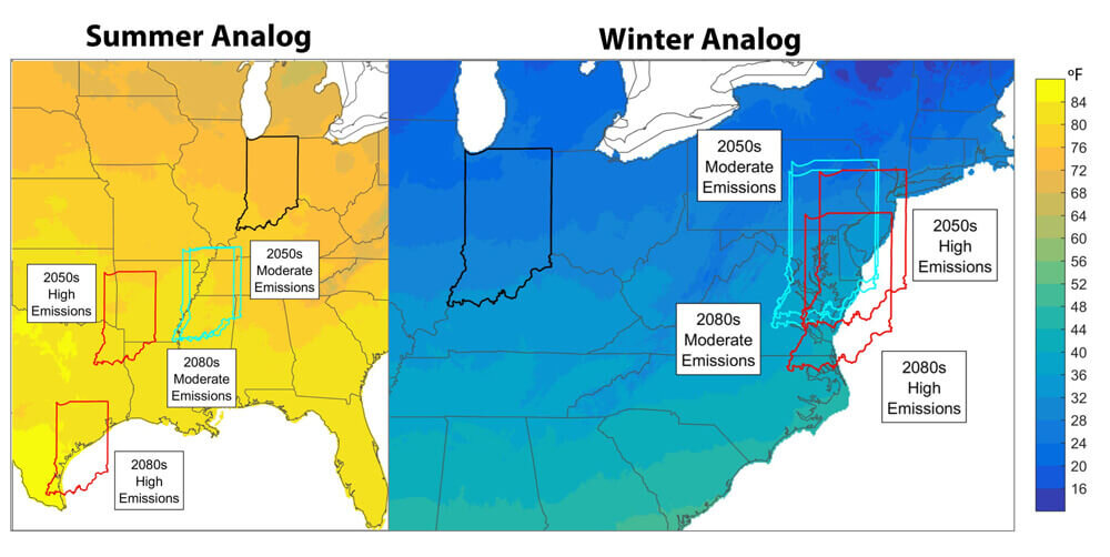"""""""An illustration of what Indiana's summer and winter climates will feel like under future scenarios, as compared to today's climate in the United States. The colored Indiana outlines are centered over the regions with the most similar summer (left) and winter (right) climates to the projected future climate of Indiana for medium (blue outlines) and high (red outlines) emissions scenarios. Projections are based on statewide seasonal averages for temperature and precipitation. Underlying maps show current-day seasonal average temperatures based on data from PRISM."""" From the  Indiana Climate Change Impacts Assessment"""