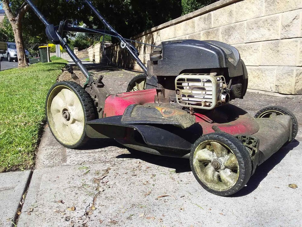 My favourite mower with a Briggs & Stratton engine, a Rover dedicated mulching deck and an optional side throwing attachment. Image via Plants Grow Here.