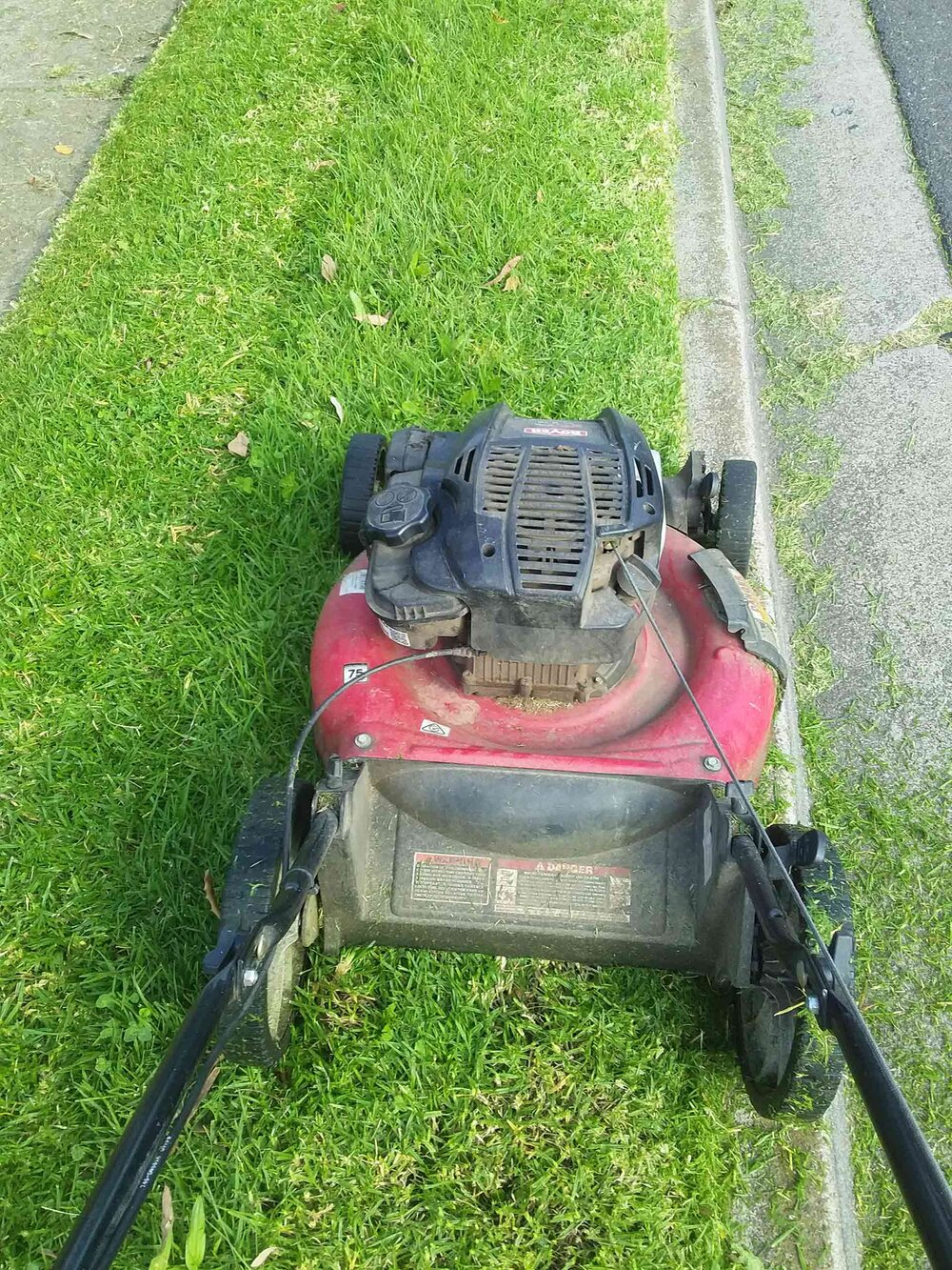 No catcher and no open chute: it's a mulch mower. Image via Plants Grow Here.