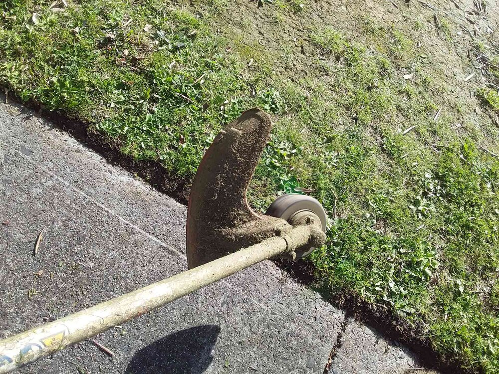 Here is a 45 cut, where the whip is slapping the grass back off the concrete. You could be walking in either direction holding this angle. Image via Plants Grow Here.