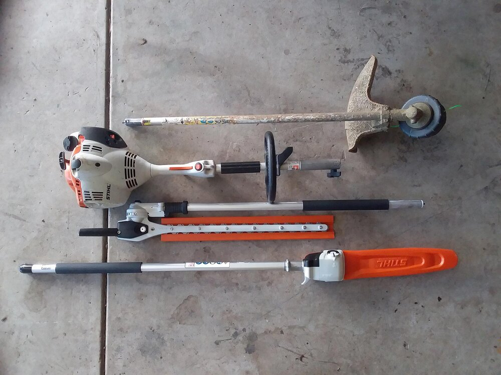 A stihl combination setup with a whip, pole hedger and pole saw. Image via Plants Grow Here.