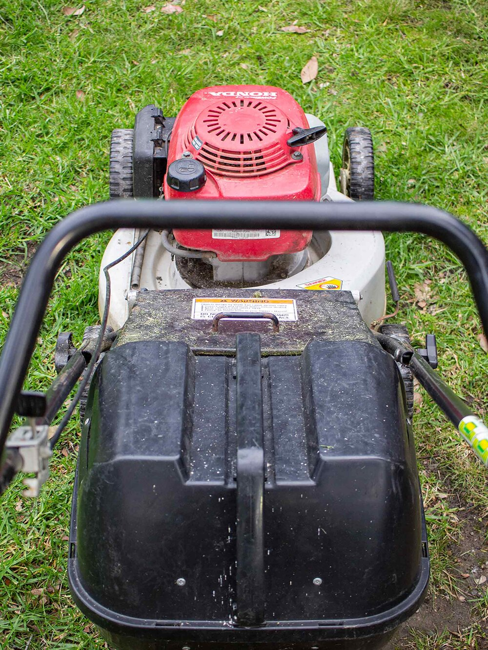 A Honda catching mower. Image via Plants Grow Here.