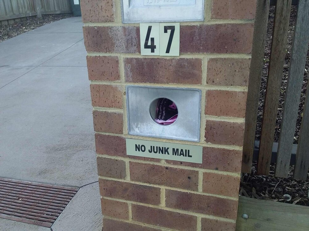 Only put invoices for clients you already work for in letterboxes with No Junk Mail signs, as no advertising material is wanted here. Image via Plants Grow Here.