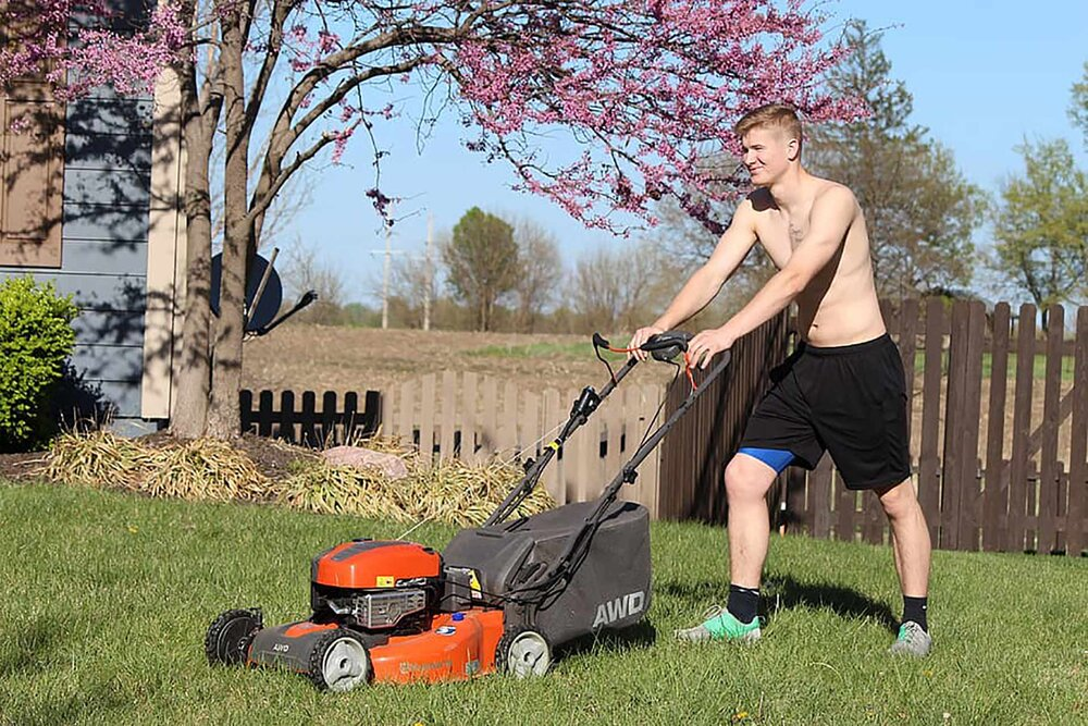 It's fine to mow shirtless for short periods of time if you're wearing plenty of sunscreen, preferably in the morning or afternoon, but avoid making a habit of it especially in the middle of the day. Slip on a shirt, slop on some sunscreen and slap on a hat.    Image source