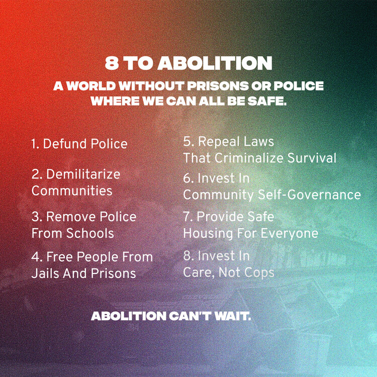 8toAbolition principles listed on a colorful background