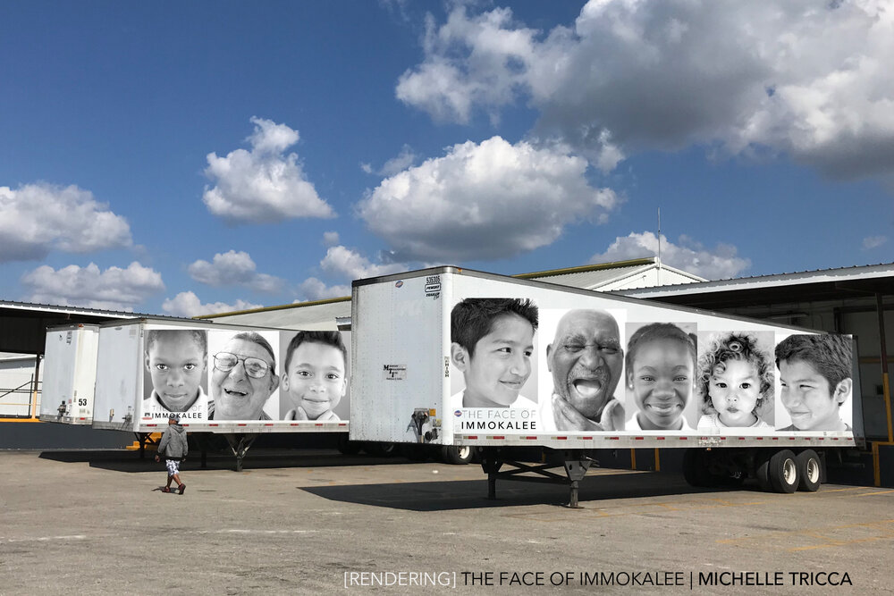 ARTIST RENDITION of the semitrailer trucks. This portion of the project will be a mobile exhibit, providing accessibility throughout Collier County