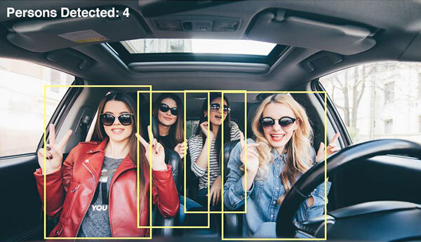 Vehicle Occupant Count - Cab drivers don't let a dozen partygoers pile into the vehicle at a pick up. When there is no driver, Sighthound's software monitors the vehicle, counting occupants.