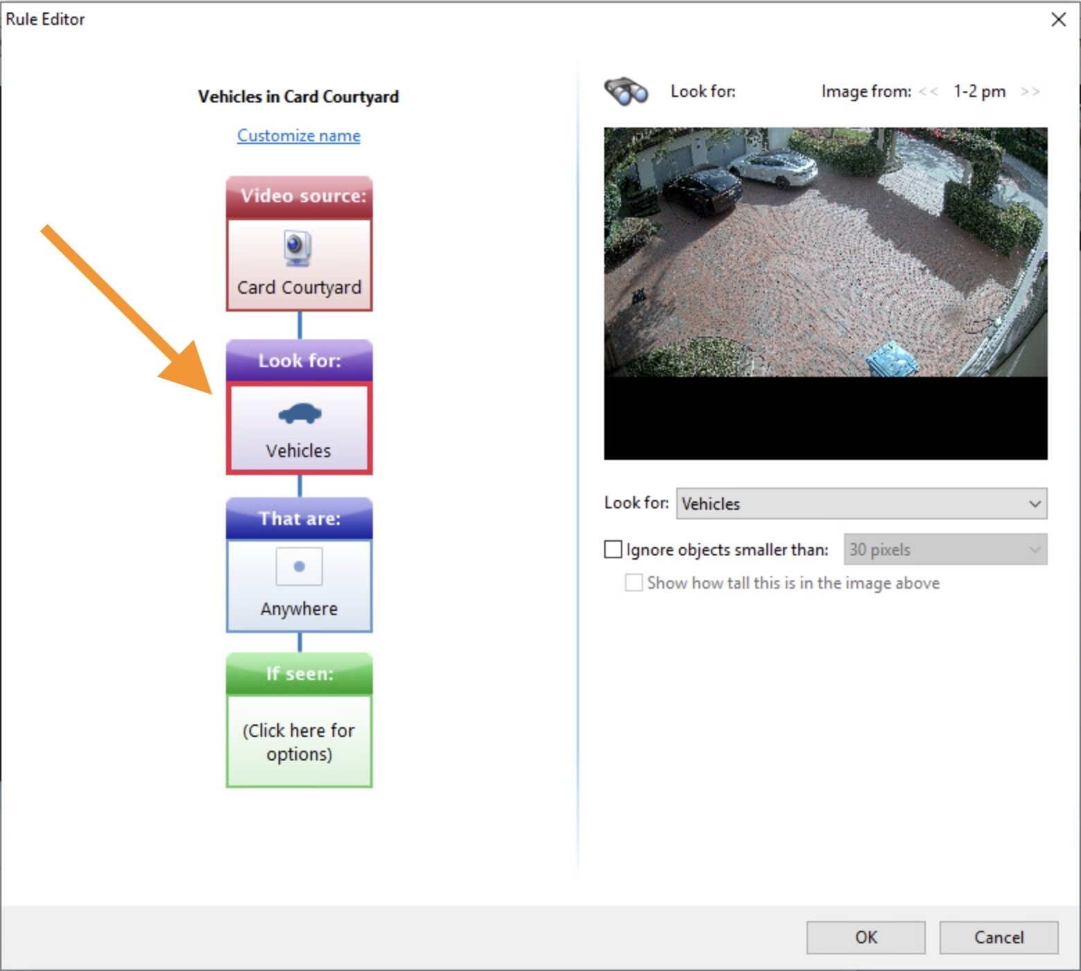 Screenshot from Sighthound Video 6.0 showing Vehicle rules -