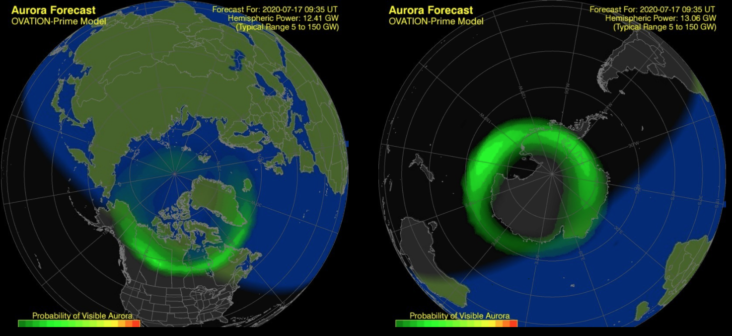 Lo SWPC mantiene il forecast attivo per entrambi gli emisferi, come si vede da questa modellizzazione. Fonte: SWPC