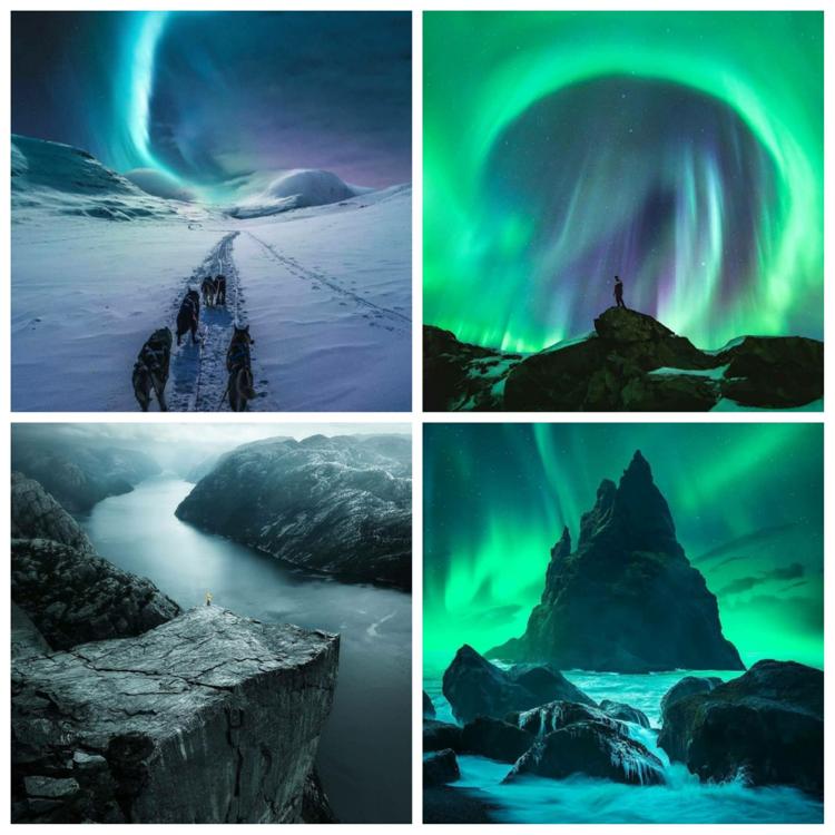 Alcune delle foto più gettonate della pagine. Foto: Sconosciuto (alto, sx), Steffen Fossbakk (alto, dx) Yura Borschev (basso, sx), Alex Williams (basso, dx)