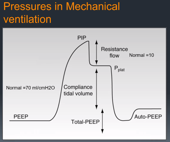 By measuring the peak and plateau pressure, you can determine physiologic characteristics. Airway resistance and lung compliance. Difference between the peak pressure and plateau pressure is the airway resistance. Normal for airway resistance is aro…