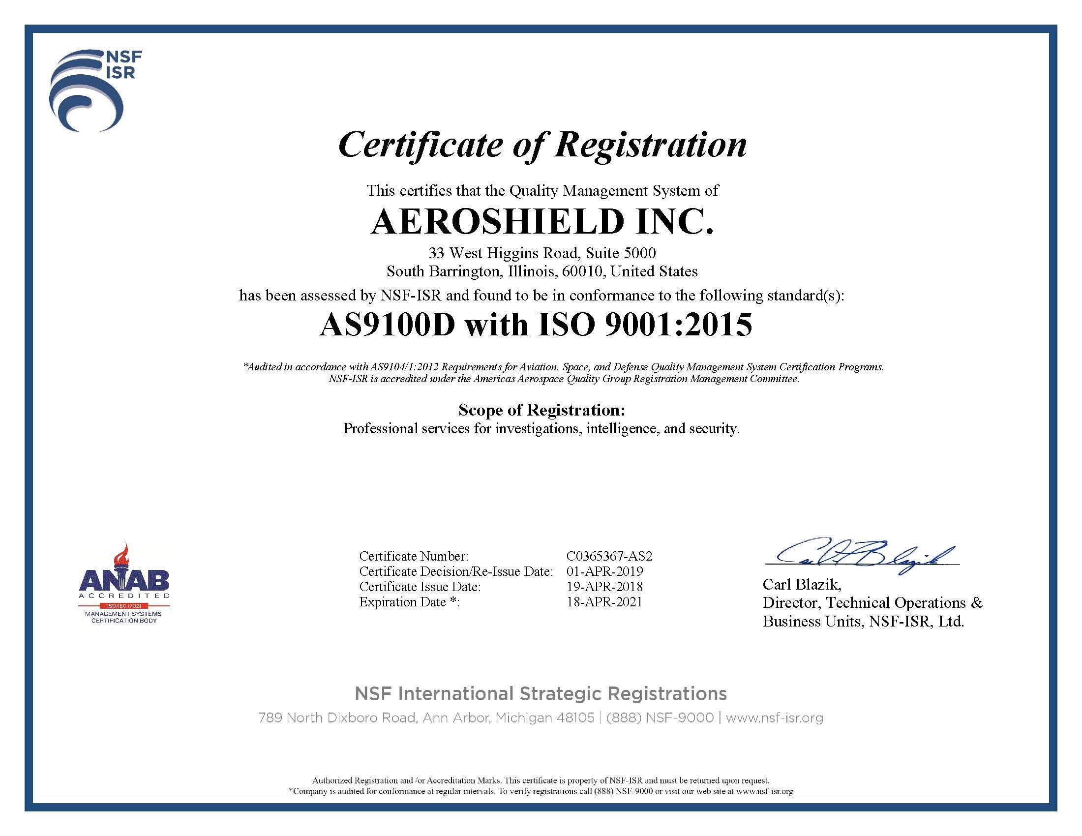 AS9100D Certified with ISO9001:2015