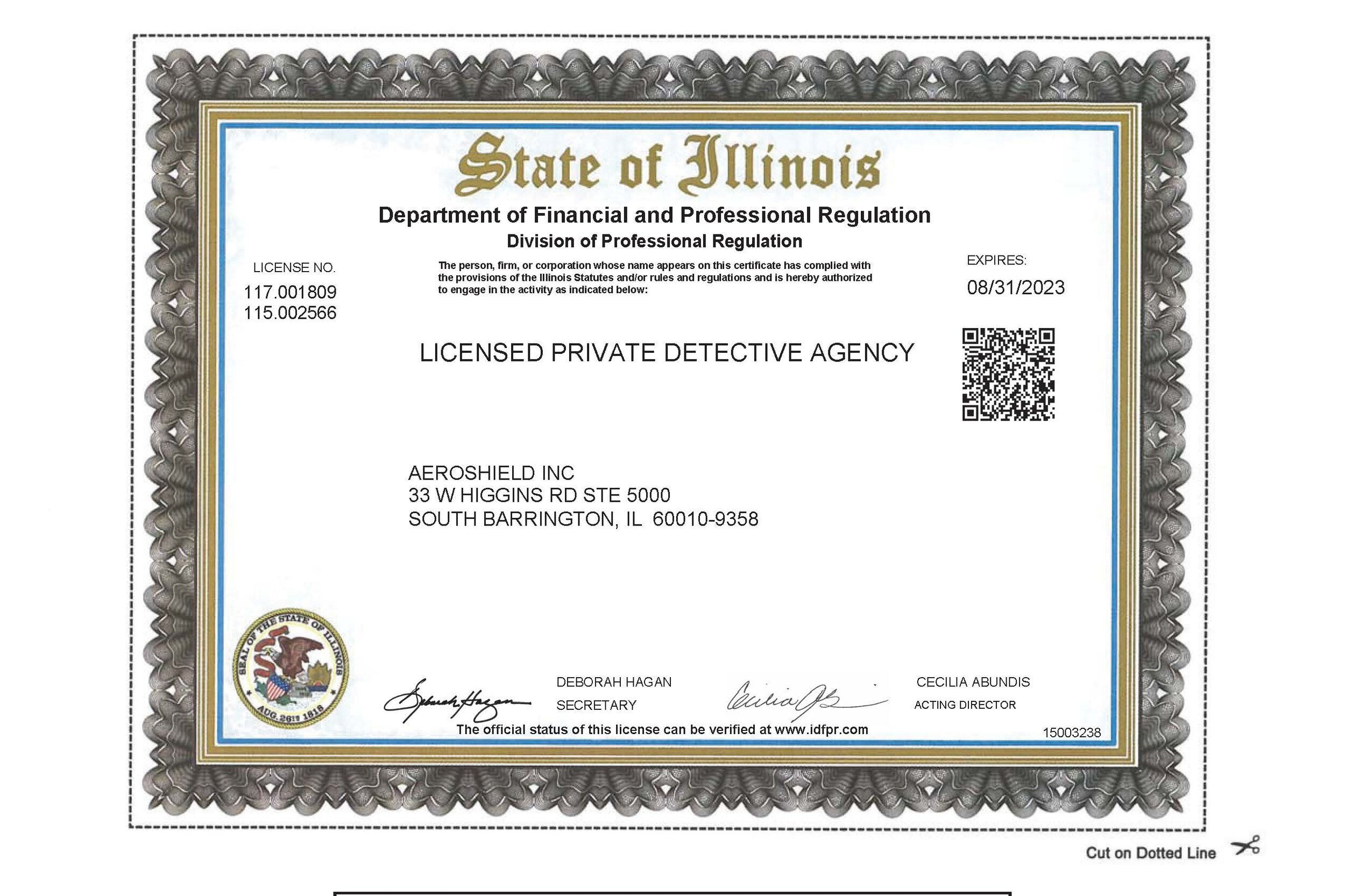Illinois Licensed Private Detective Agency License