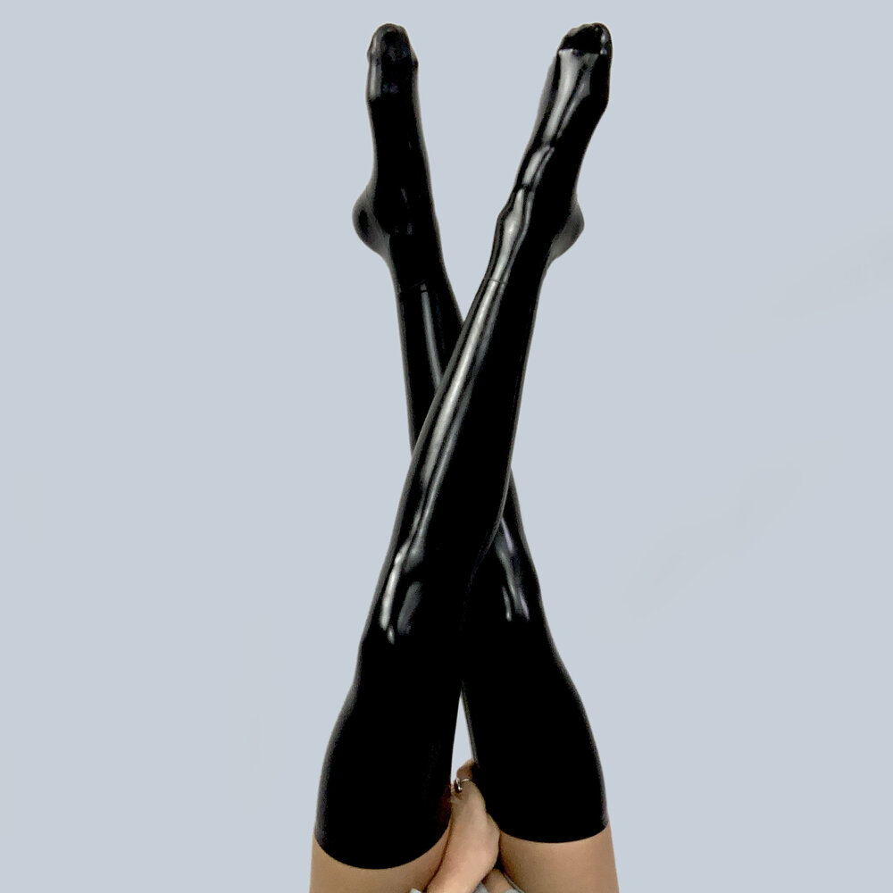 Latex Look Black Footless Stockings Lace Up Backs Side Zips Elasticated Tops