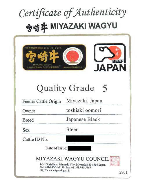 A5 Japanese Wagyu Beef Authentic Certificate