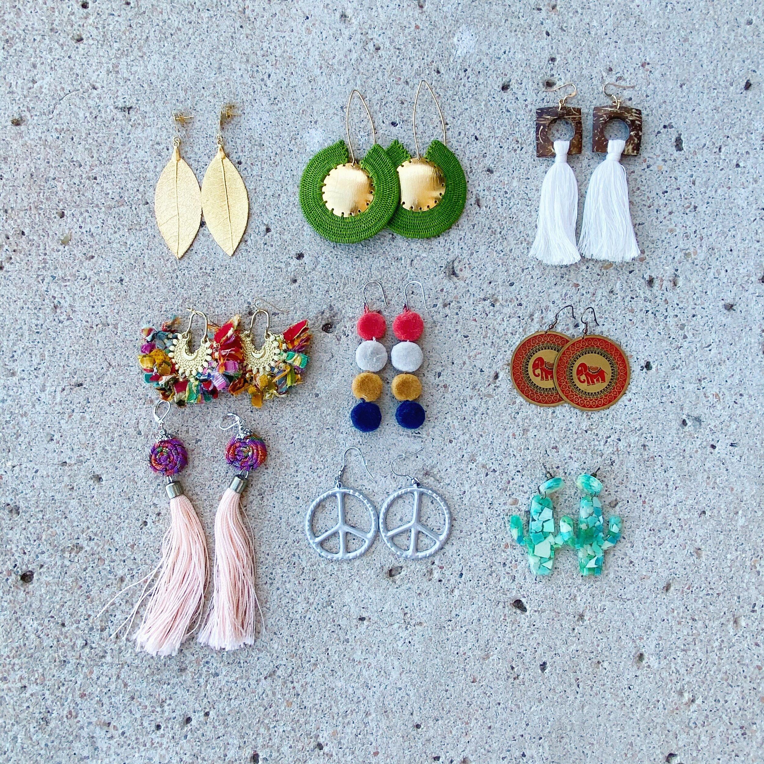 leaves leaf earrings handmade earrings nature earrings in recycled plastic leaf earrings colored earrings
