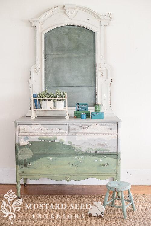 Miss Mustard Seed's Milk Paint, landscape dresser, pastoral scene, depression era dresser