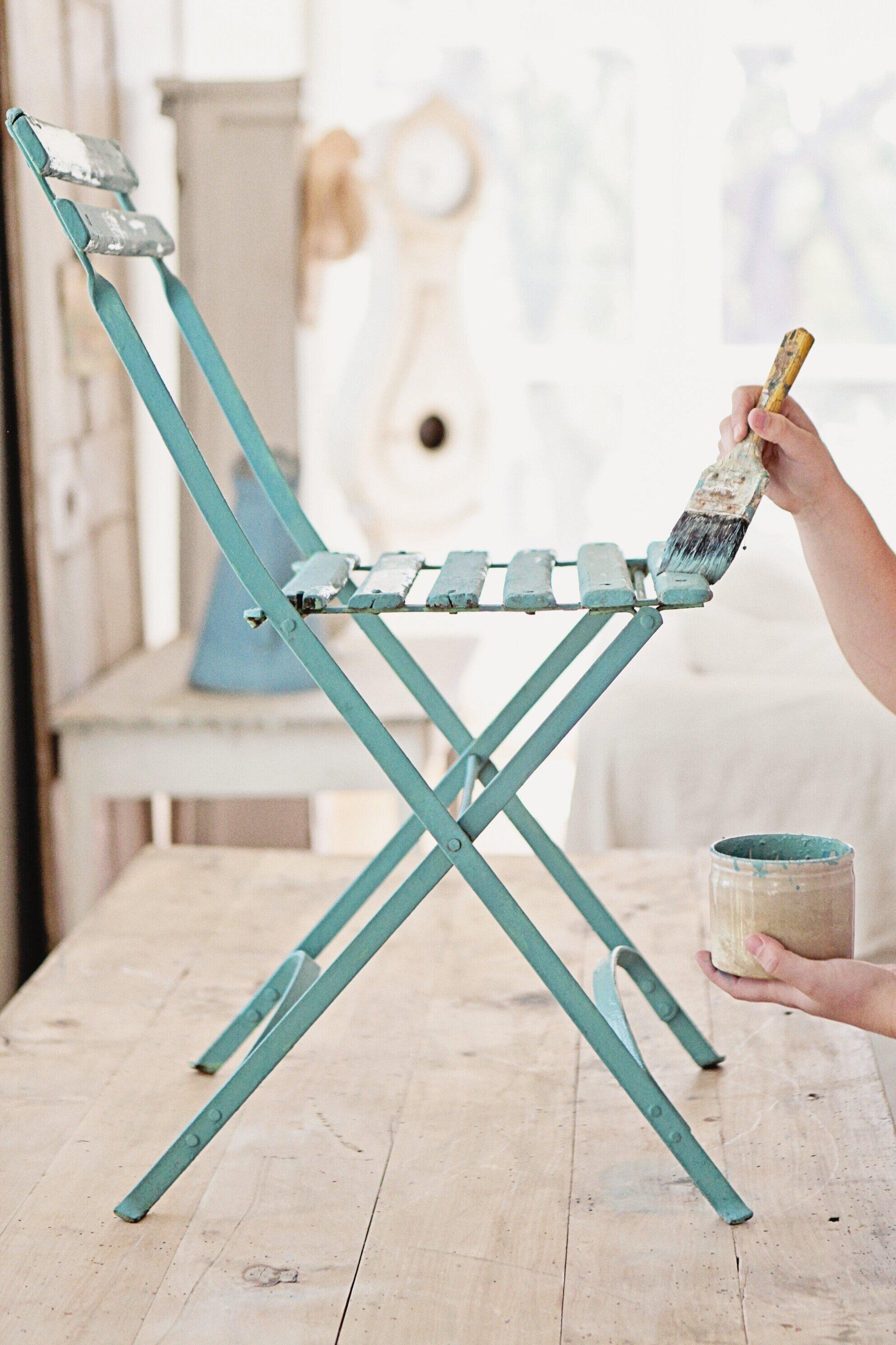 Kitchen Scale Milk Paint on a bistro chair
