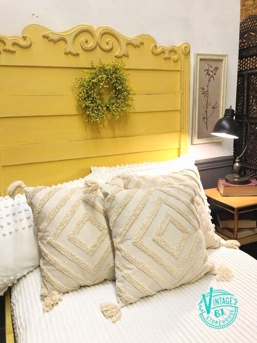 Antique Eastlake bed painted in Mustard Seed Yellow Milk Paint by MMS Milk Paint