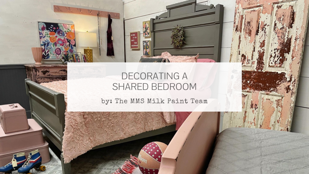 Decorating a shared girl's bedroom in pink and gray using Miss Mustard Seed's Milk Paint