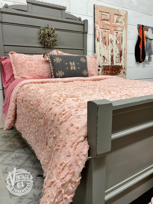 Antique Eastlake twin bed painted in Trophy by MMS Milk Paint with pink chenille coverlet