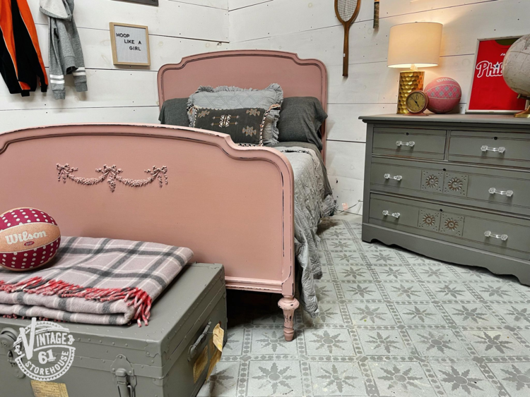 Depression-era bed painted in Arabesque by MMS Milk Paint, antique Eastlake chest of drawers in Trophy by MMS Milk Paint