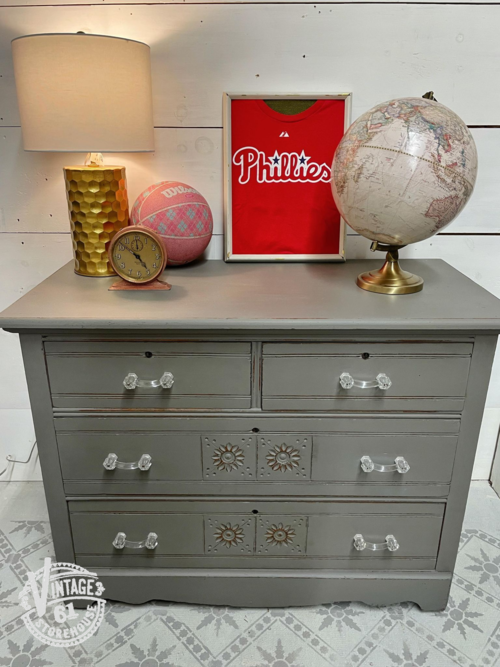 Eastlake chest of drawers painted in Trophy by MMS Milk Paint