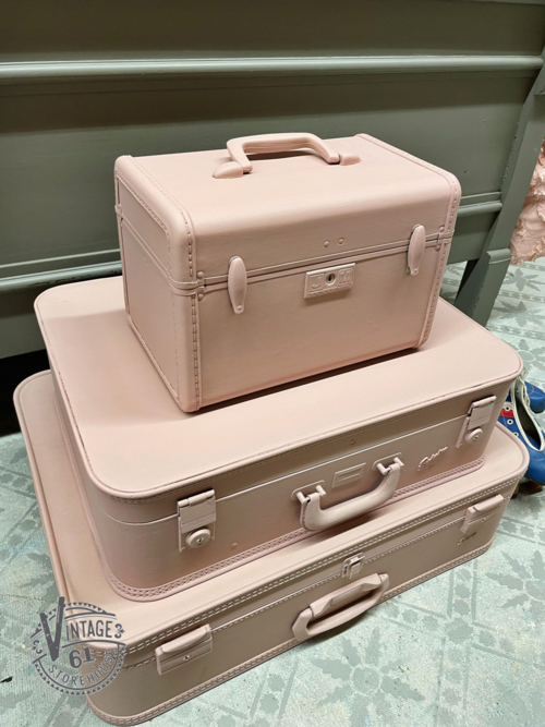 Vintage suitcases painted in Arabesque Milk Paint by Miss Mustard Seed