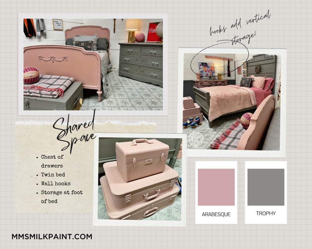 Shared girl's bedroom inspiration, pink and gray, Miss Mustard Seed's Milk Paint
