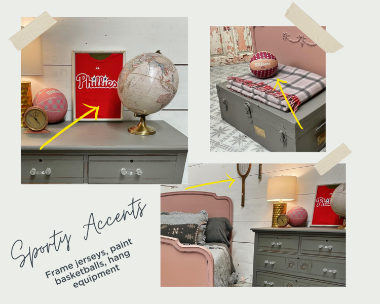 Decorating with sporting equipment, gray and pink bedroom, Arabesque and Trophy by MMS Milk Paint