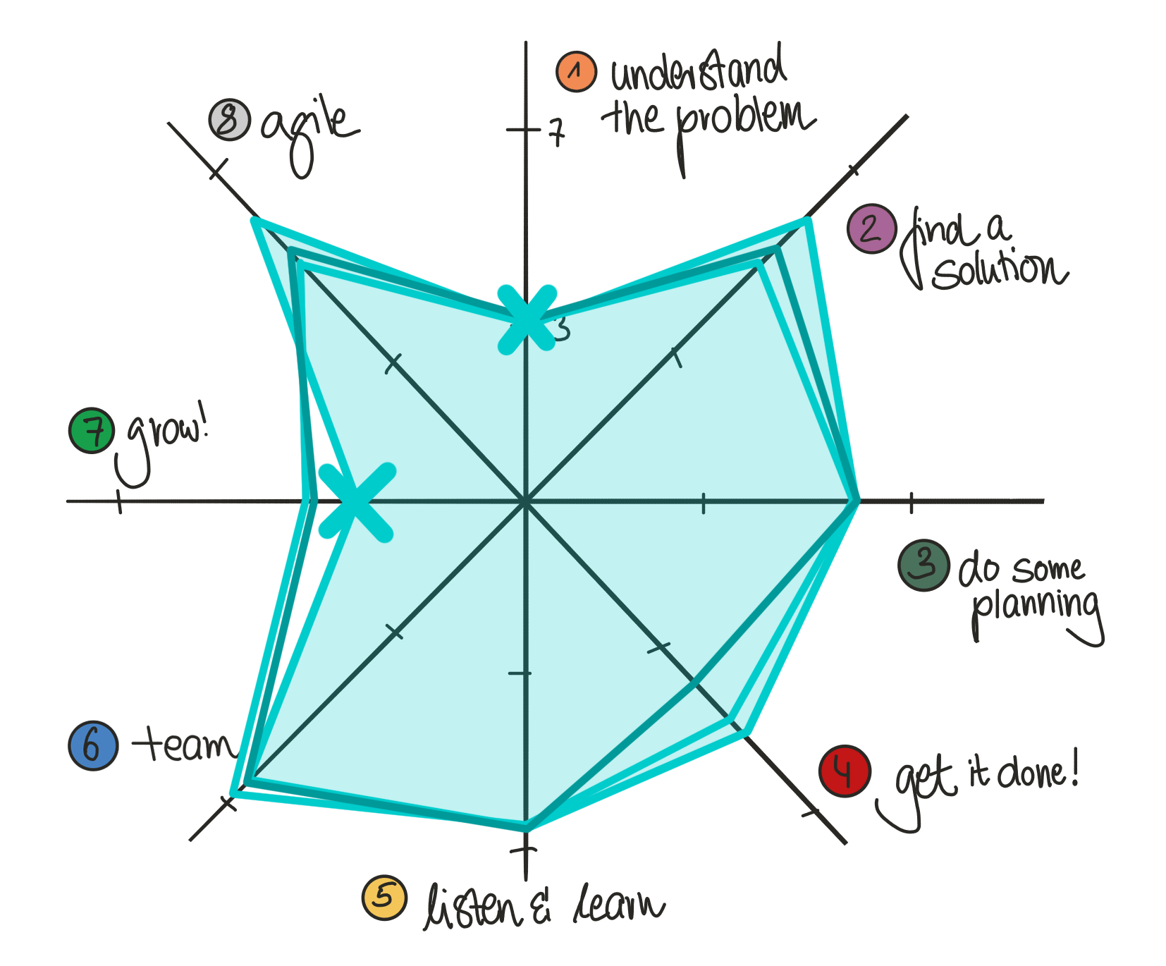 Example of a PM wheel showing a radar graph. Quadrants include understand the problem, find a solution, do some planning, get it done, listen & learn, team, grow, and agile.