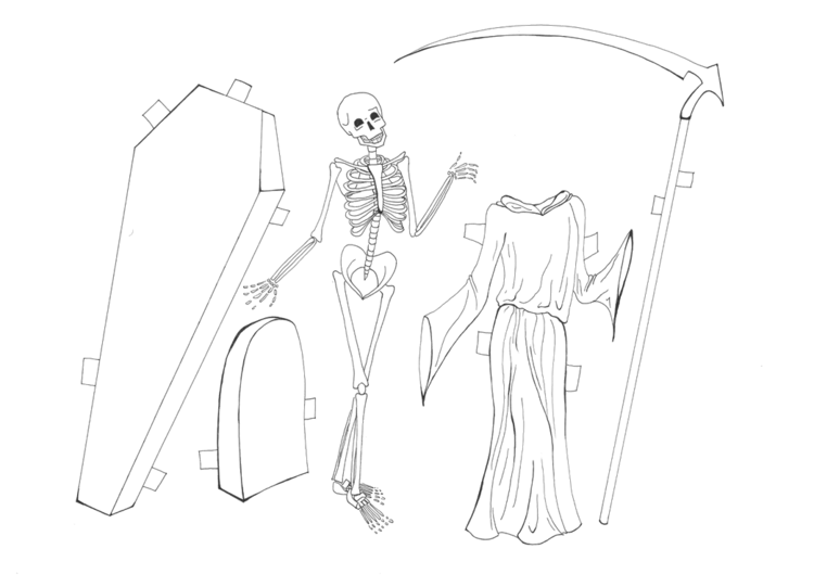 Death as a skeleton side by side with robe and sycthe, coffin, and headstone
